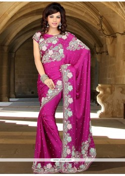 Princely Faux Chiffon Embroidered Work Classic Saree
