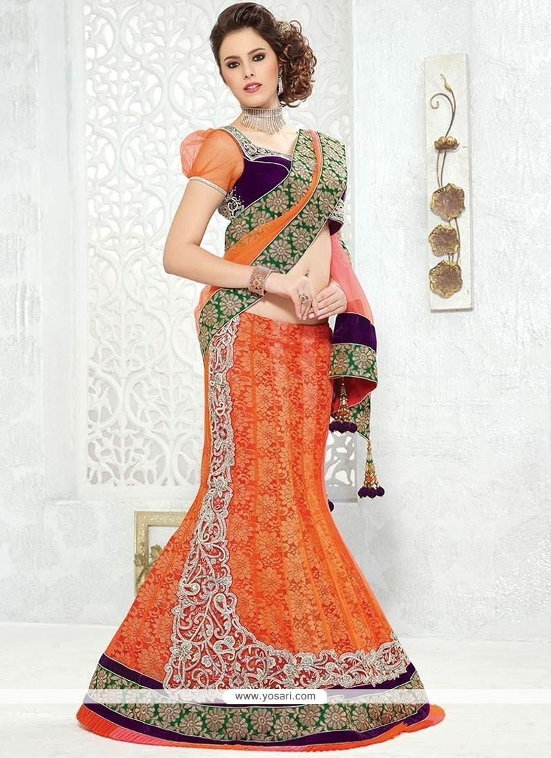 d46dde3915 Buy Orange Gold Zardosi Work Net Lehenga Saree | Bridal Sarees