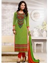 Green And Orange Chanderi Churidar Suit