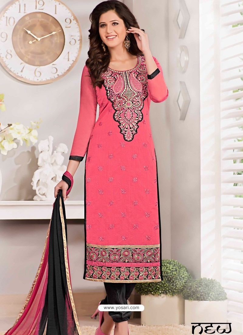 Pink And Black Chanderi Churidar Suit