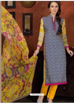 Black And Mustard Cotton Designer Salwar Suit