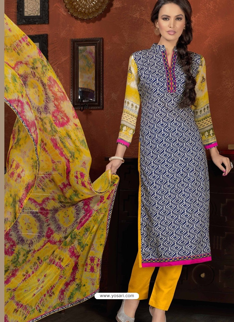 Black And Mustard Cotton Churidar Suit