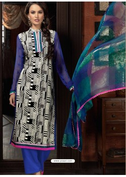 Blue And White Cotton Designer Salwar Suit