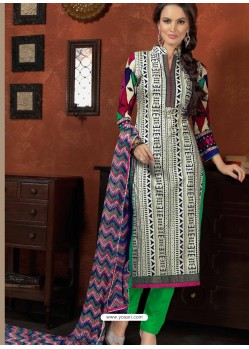 Green And White Cotton Designer Salwar Suit