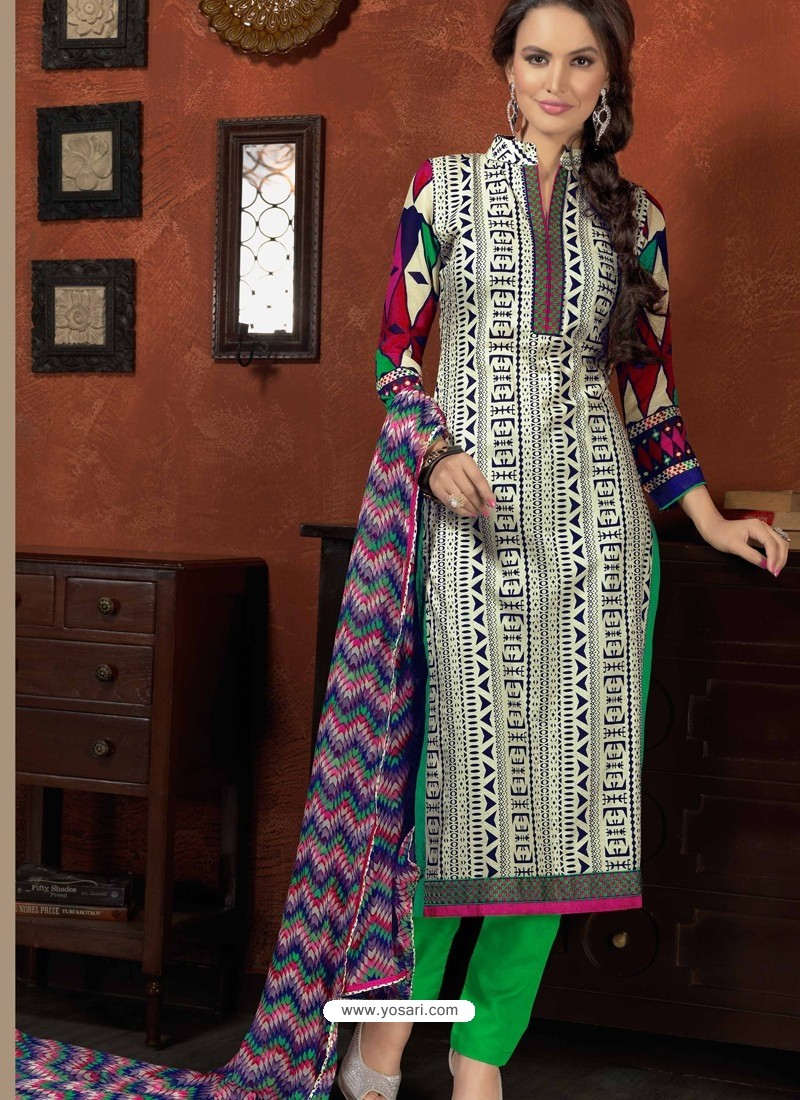 Green And White Cotton Churidar Suit