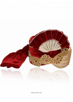 Scintillating Maroon Velvet Wedding Turban