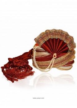 Classy Maroon Art Silk Wedding Turban