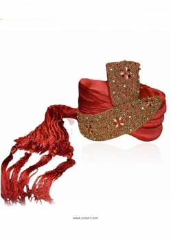 Mens Red Art Silk Wedding Turban
