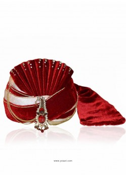 Sizzling Maroon Velvet Wedding Turban