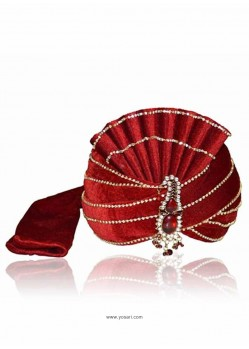 Mens Maroon Velvet Wedding Turban
