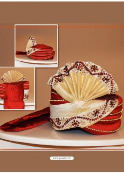 Charming Red Art Silk Wedding Turban