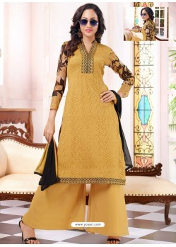 Mustard Georgette And Net Pakistani Suit