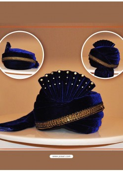 Blue Velvet Wedding Turban For Men