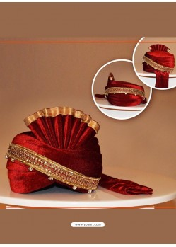 Maroon Velvet Wedding Turban For Groom