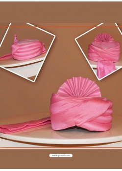 Trendy Pink Chanderi Silk Wedding Turban