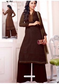 Brown Georgette And Net Pakistani Suit
