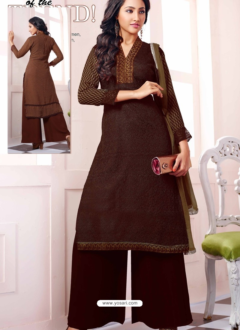 Brown Georgette And Net Pakistani Suits