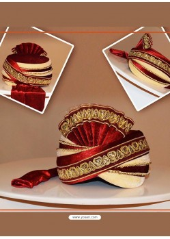 Flattering Red Color Velvet Wedding Turban