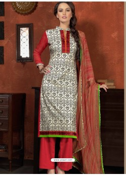 Pink And White Cotton Designer Salwar Suit