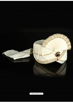 Demure White Dupion Raw Silk Wedding Turban