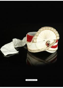 White Dupioni Raw Silk Wedding Turban For Men