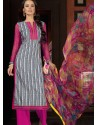 Pink And White Cotton Churidar Suit