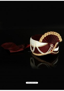 Awesome Maroon Dupioni Raw Silk Wedding Turban