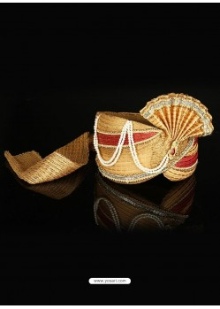 Charming Beige Net Wedding Turban
