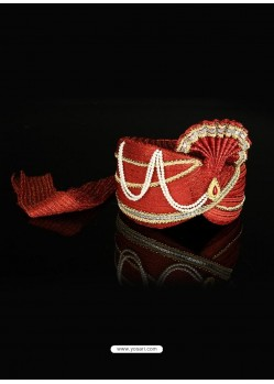 Flattering Red Net Wedding Turban For Men