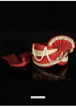 Red Net Wedding Turban For Men