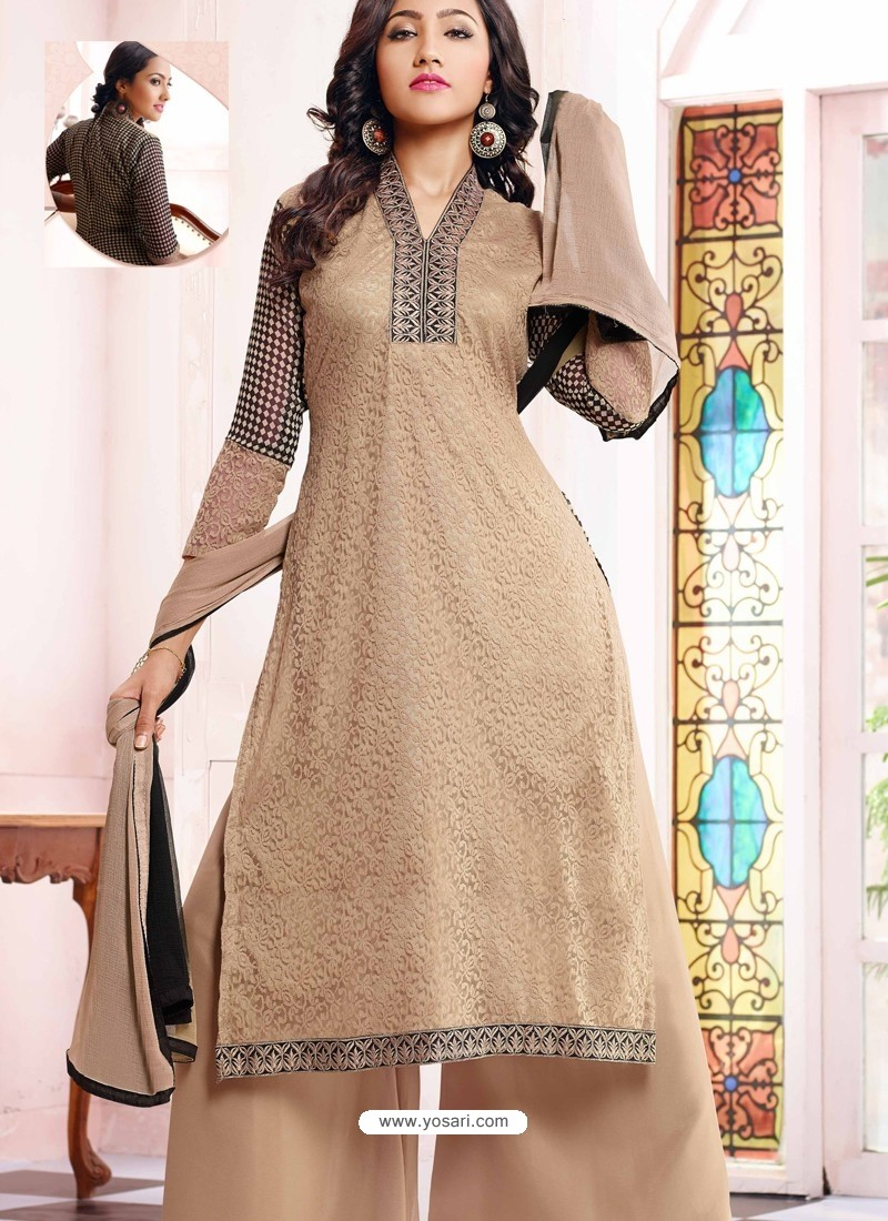Grey Georgette And Net Pakistani Suits