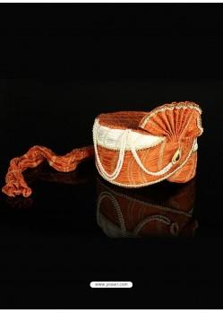 Sonorous Orange Net Wedding Turban