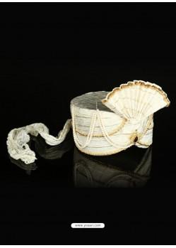 Ethnic White Net Fabric Wedding Turban