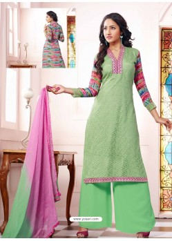 Green And Pink Georgette And Net Pakistani Suit