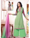 Green And Pink Georgette And Net Pakistani Suits