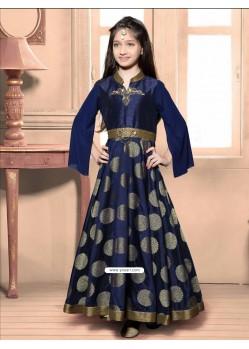 Festive Blue Jacquard Dress