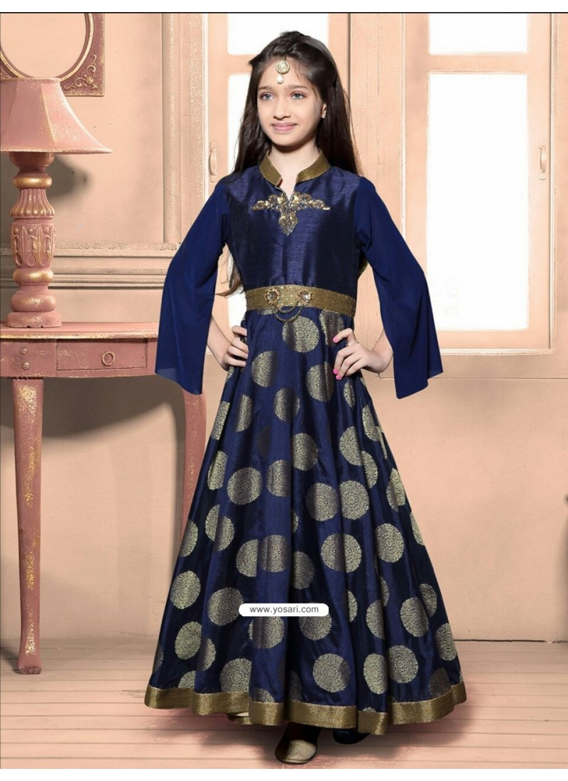 buy festive blue jacquard dress  indowestern dresses for