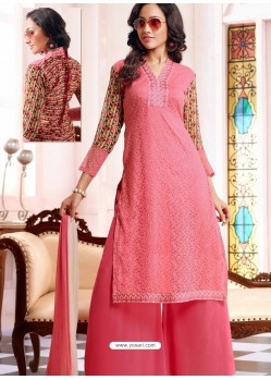 Pink Georgette And Net Pakistani Suit