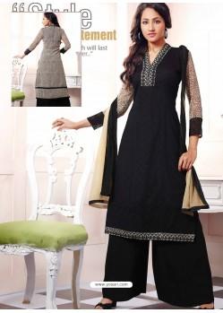Black Georgette And Net Pakistani Suit