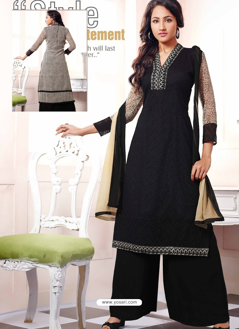 Black Georgette And Net Pakistani Suits