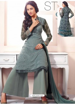 Dark Grey Georgette And Net Pakistani Suit