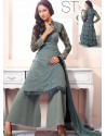 Dark Grey Georgette And Net Pakistani Suits