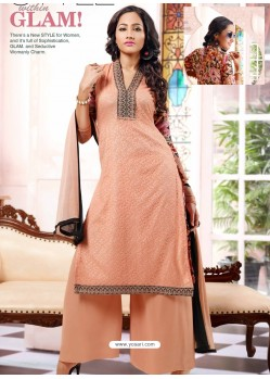 Peach Georgette And Net Pakistani Suit