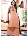 Peach Georgette And Net Pakistani Suits