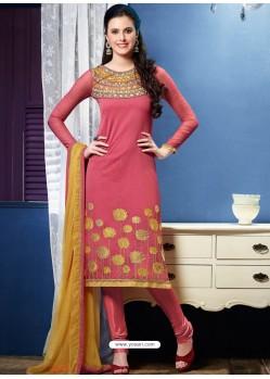 Pink Chanderi Churidar Suit