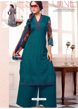 Green Georgette And Net Pakistani Suit