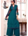 Green Georgette And Net Pakistani Suits