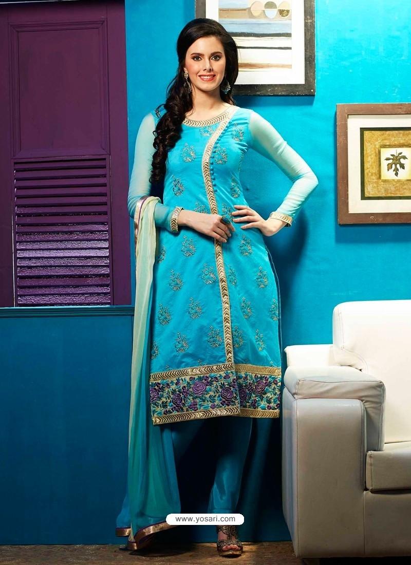 Sky Blue Chanderi Churidar Suit