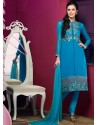 Blue Chanderi Churidar Suit