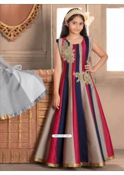 Classy Blue N Red Banasari silk Gown